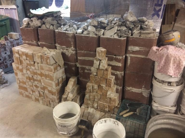 tiles and mortar